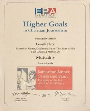 Evangelical Press Association Award 2017 Bronwen Speedie Mutuality